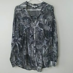 BB Dakota Sheer Snakeskin Print Blouse